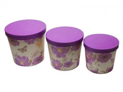 Set 3 cutii tip cilindru | Petal Flowers